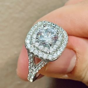 Simulated Diamond 14k white gold plated Ring